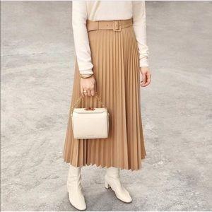 Zara Camel Pleated Midi Skirt w Belt (blogger fav)